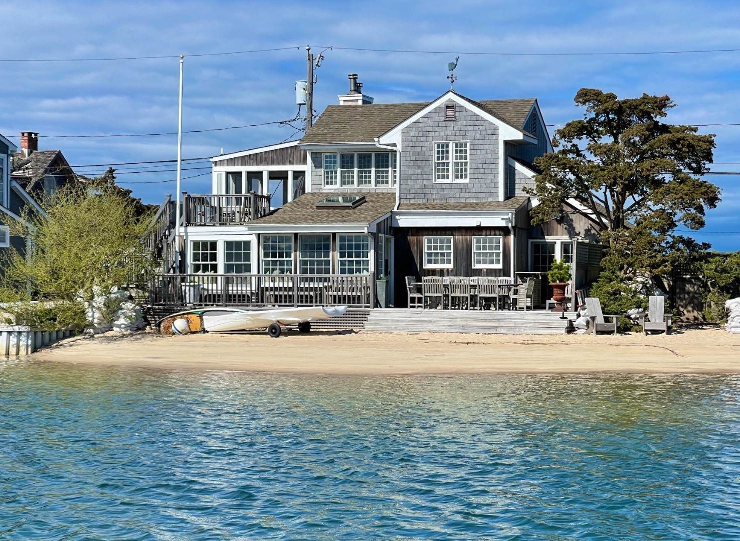 Single Family Home for Sale at Chic Three Bedroom Waterfront With Private Sandy Beach 278 Towd Point Road, Southampton, NY 11968