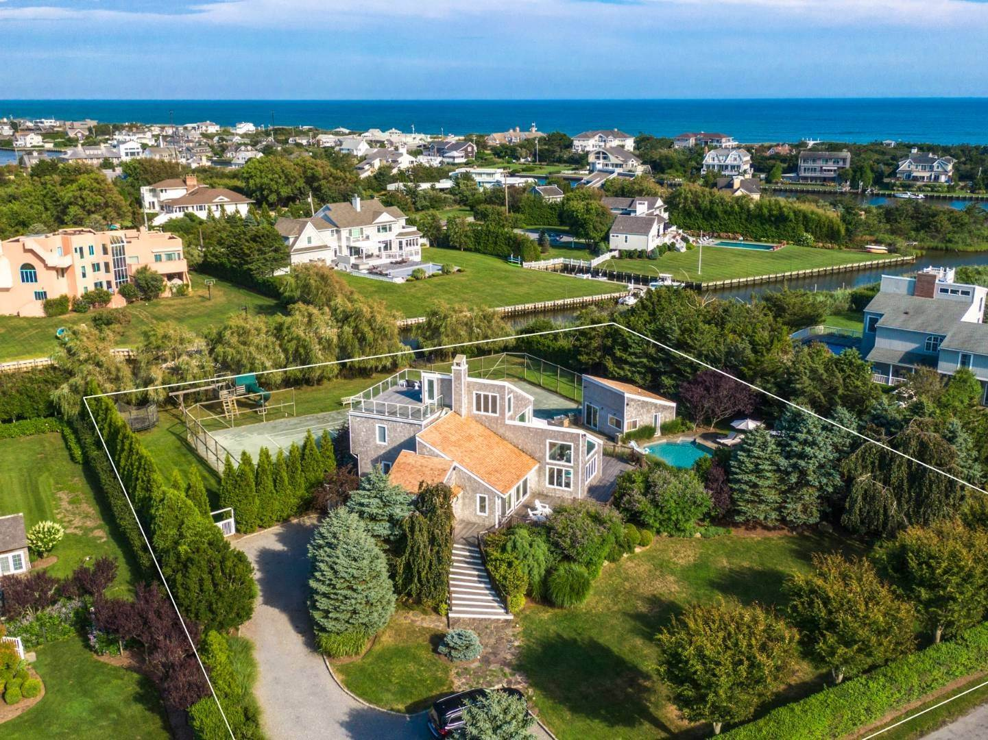 Single Family Home for Sale at South Quogue Contemporary Waterfront Pool Tennis Cabana 4 Bayview Drive, Quogue Village, NY 11959