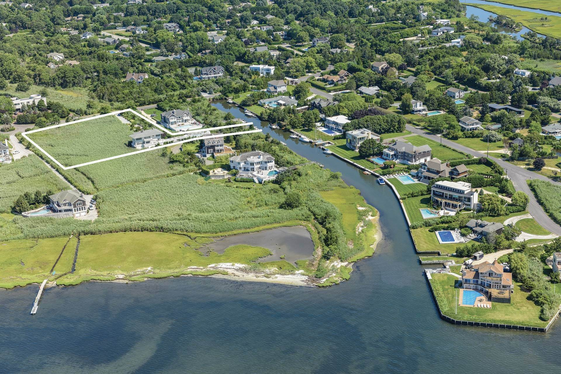 Single Family Home for Sale at Celebrate Nature's Beauty: Sunsets, Water Views, Pool & Dock 5 Bay Meadow Lane, Westhampton, NY 11977